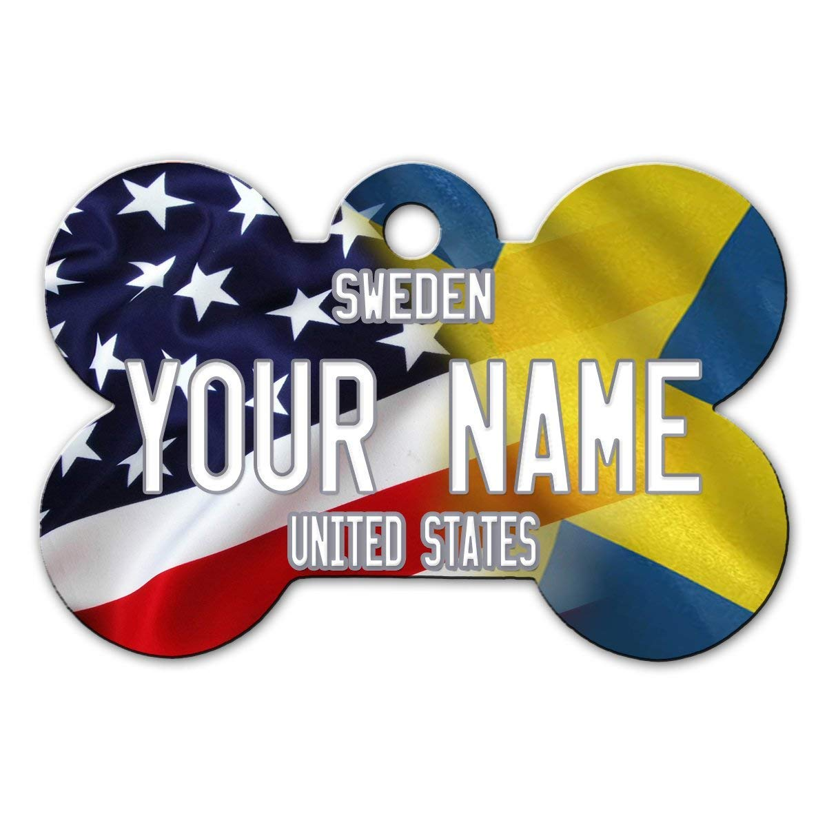 BRGiftShop Personalize Your Own Mixed USA and Sweden Flag Bone Shaped Metal Pet ID Tag with Contact Information