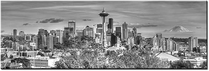 Levvarts Large Size Seattle Skyline Canvas Wall Art The Space Needle And Mount Rainier Black And White Picture Print On Canvas Gallery Wrapped Modern Home And Office Decor Posters Prints