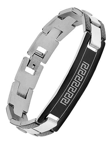 e1aa643a7d81 Le Jewelbox italien motard ID en acier inoxydable Bordure noire rhodium  plaqué Bracelet pour garçon Homme