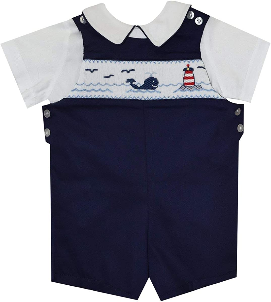 BETTI TERRELL Whales and Lt House Smocked Boys Shortall and Shirt SS