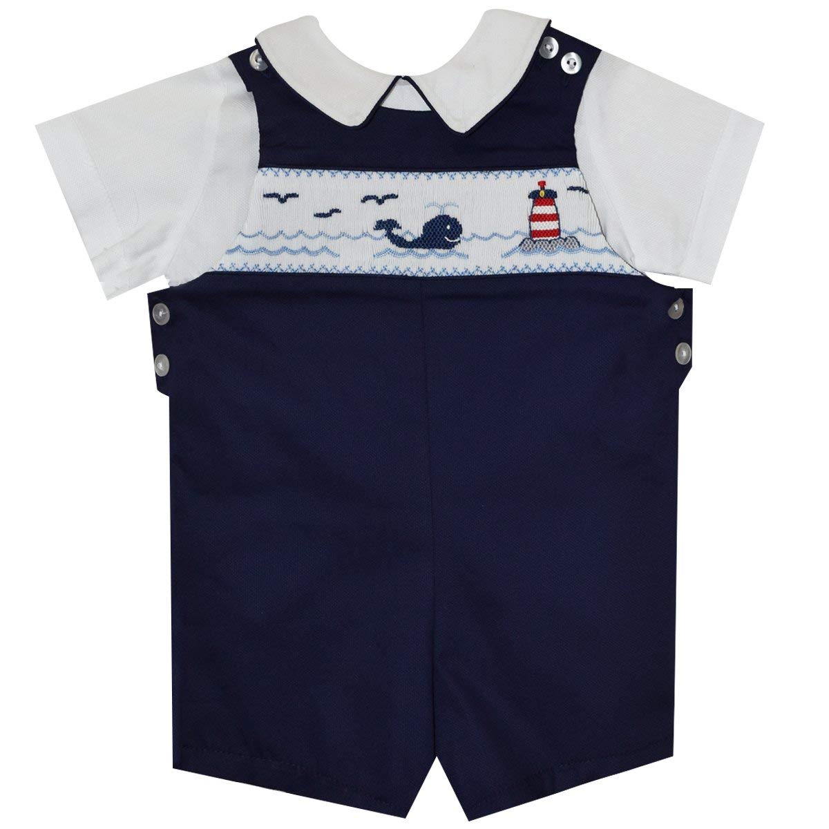 BETTI TERRELL Whales and Lt House Smocked Boys Shortall and Shirt SS Black