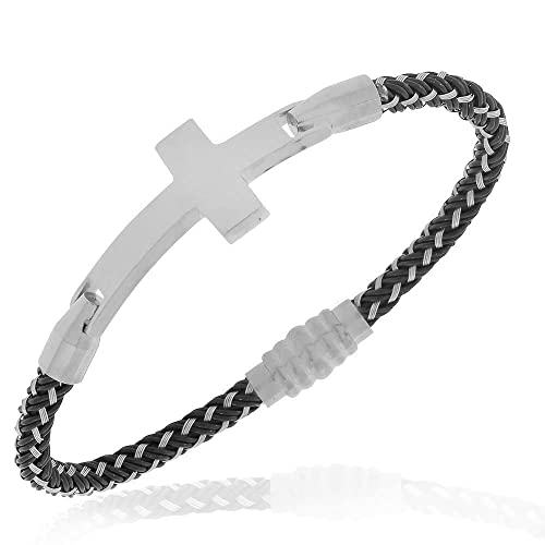 Fashion Jewelry Cable Stainless Silvertone Cross Bracelet
