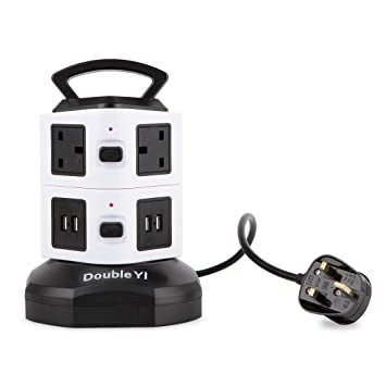 Nice DoubleYI Retractable 3m/9.8ft 6 Way 4 USB Extension Lead Power Strip Surge  Protector