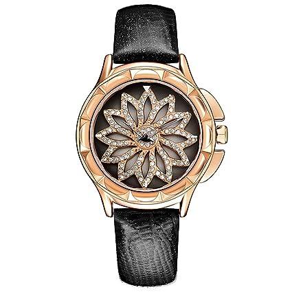 LZ Reloj de Lujo para Mujer, Flor giratoria, joyería de Moda, Relojes de