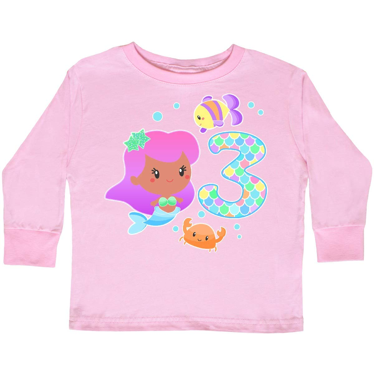 inktastic Third Birthday Mermaid with Fish and Crab Toddler Long Sleeve T-Shirt