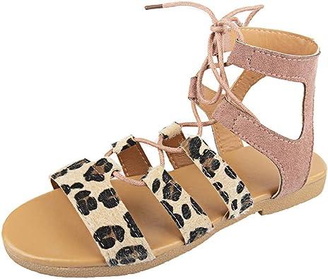 Sandale de Romain Femme Chaussure Plat Bout Ouvert Nu Orteil