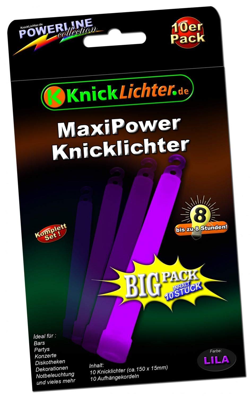 ca 150 x 15 mm Maxi Power 25 Knicklichter LILA Sicherheitskordeln incl 8 Stunden Leuchtdauer