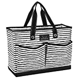 SCOUT BJ Bag, Large Multi Pocket Utility Tote for Beach and Pool, Reinforced Bottom, Water Resistant, Zips Closed, Chalk Back