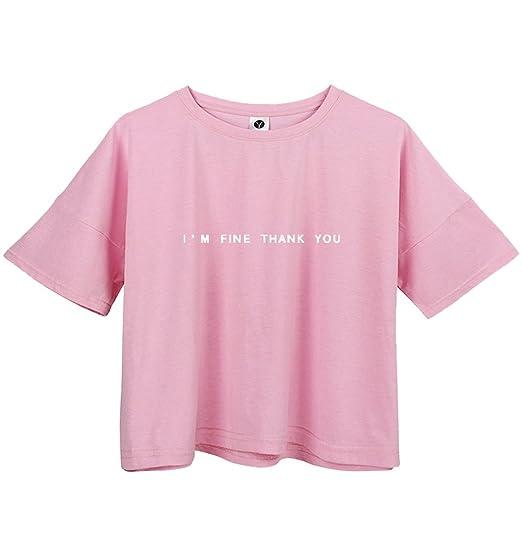BLACKMYTH Mujer Casual Algodón Camisetas Moda Redondo Señoras Crop Tops Graphic Tees Rosa Small