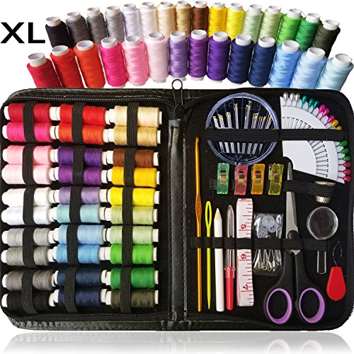 SEWING KIT, Over 100 XL Quality Sewing Supplies, 30 XL Spools of Thread, XL sewing kit for DIY, Beginners, Emergency, Kids, Summer Campers, Travel and home (Thread Sewing)