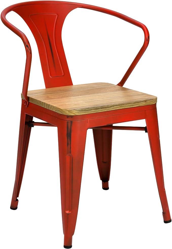 Vaukura Chaise Tolix avec Bras – Chaise Industrielle métallique Finition Vintage Assise en Bois (Rouge)