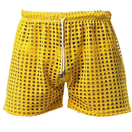 FEESHOW Men's See-Through Mesh Loose Shorts Lounge Underwear Cover up Boxer Trunks Yellow Hollow S