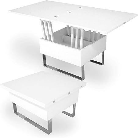 Table Basse relevable Multifonction Woods laqué (Blanc)
