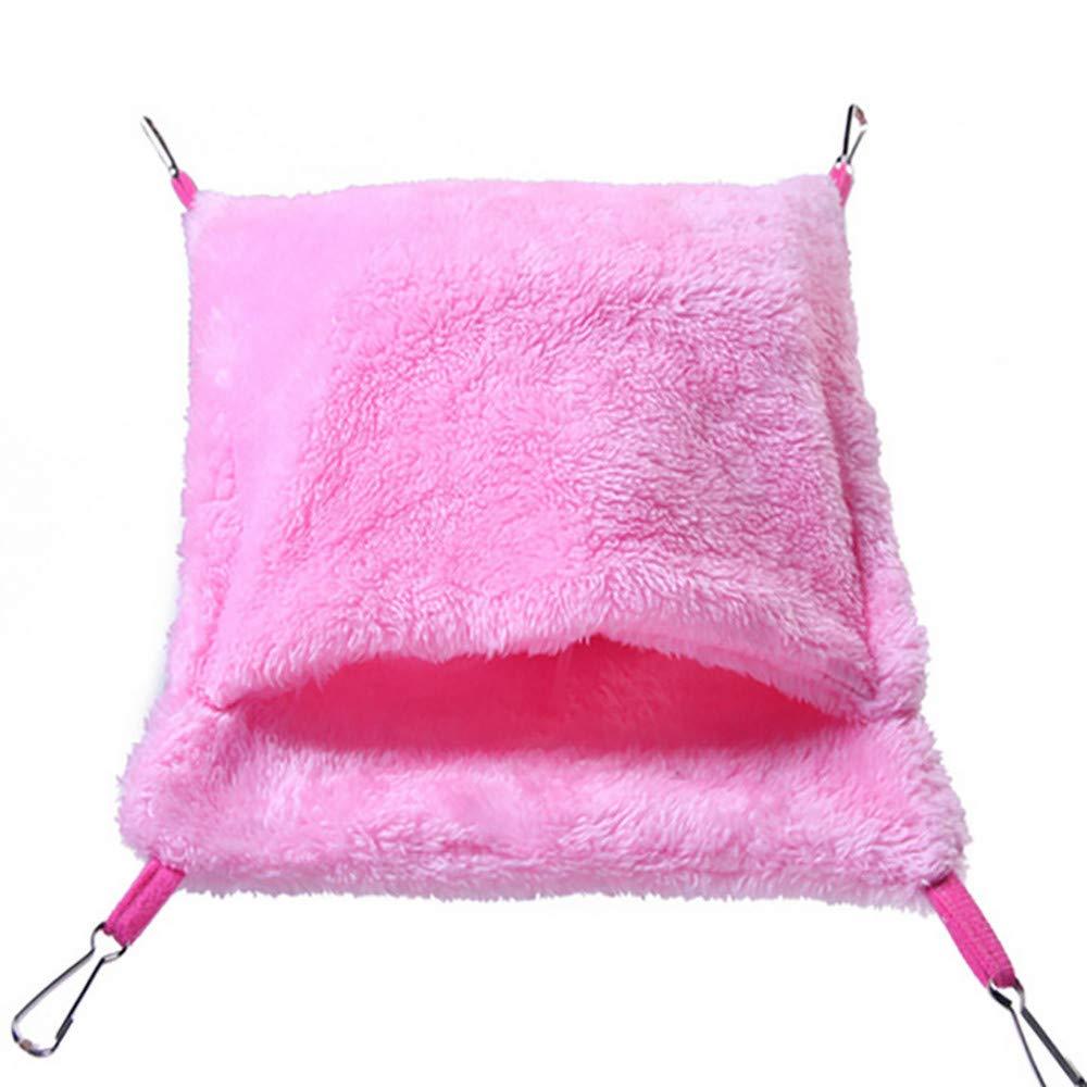 Pet Hammock,FTXJ Hammock for Hamster Ferret Rabbit Animals Small Cotton Sleep Nest House Hanging (21 X 18cm, Pink)