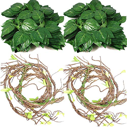 Tropical Gecko Lizard - Flexible Bend-A-Branch Jungle Vines Plastic Terrarium Plant Leaves Pet Habitat Decor for Lizard,Frogs, Snakes and More Reptiles(Pack of 3) (Reptile Branches)
