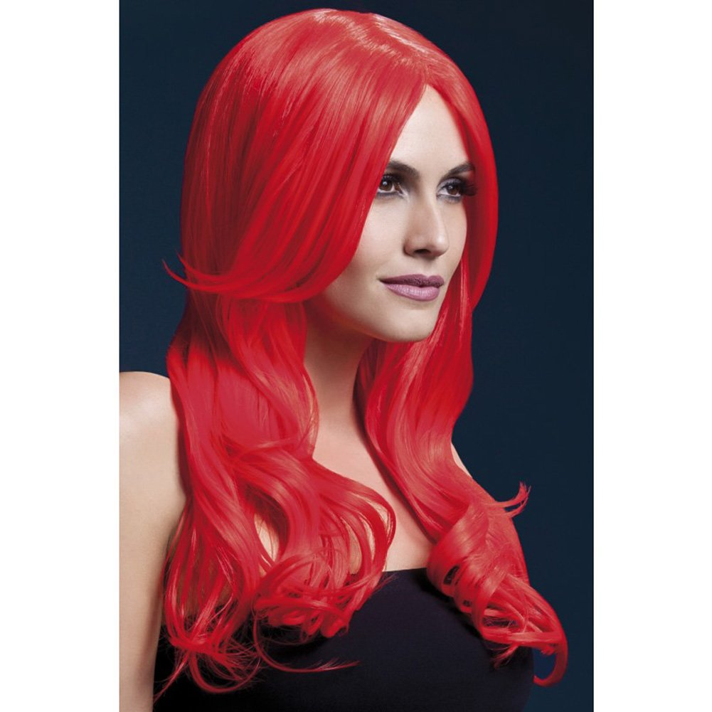 Fever Women's Neon Red Long Wavy Wig with Centre Part, 26inch, One Size
