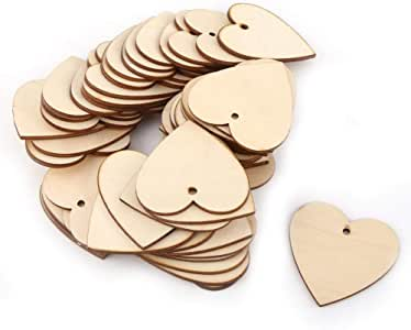 Akozon Love Hearts Shape Wooden Crafts with Single Hole Embellishment for Weddings Plaques DIY Art Craft love Card Making 40mm-150mm 100pcs 100mm 5pcs