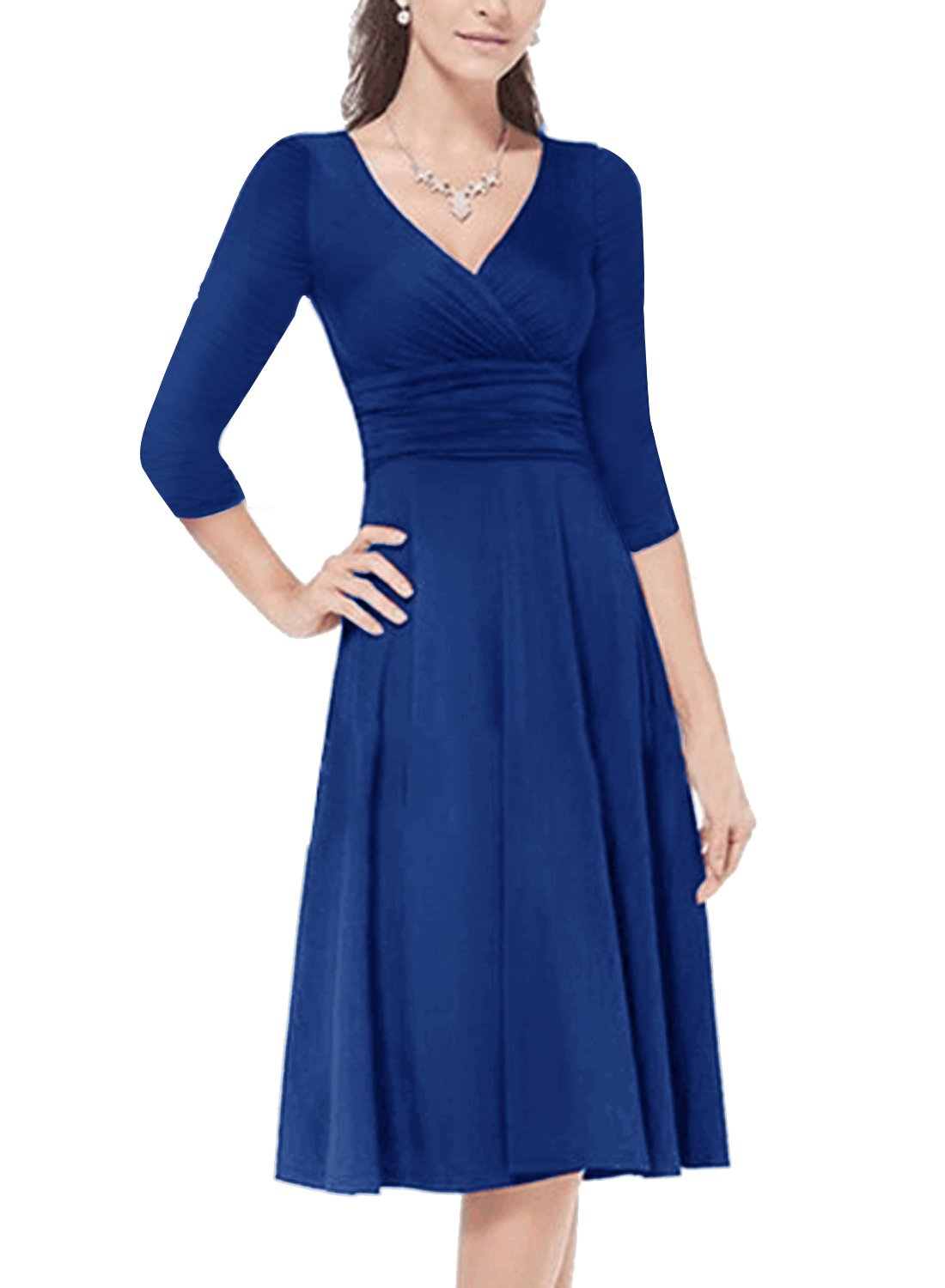 HUSKARY Women's Slimming 3/4 Sleeve Fit-and-Flare Crossover Ruched Waist Dress (Blue, Small)