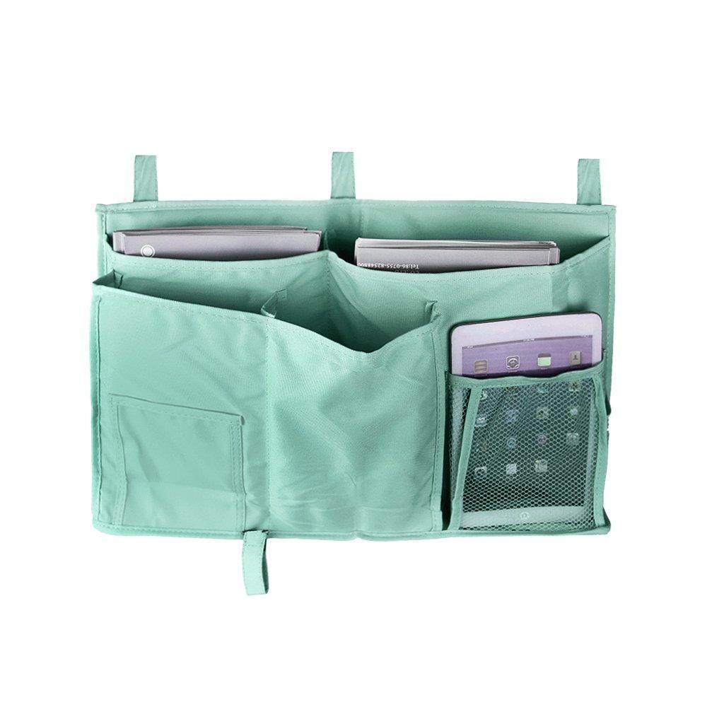Bedside Caddy, Multipurpose Bed Tidy Stroller Hanging Pocket Organizer Books Tissue Sundries Holder Storage Bags for Headboards, Bed Rails, Dorm Rooms, Bunk Beds, Bathrooms Blue