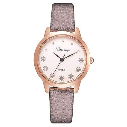 Hswt Reloj De Cuarzo para Mujer Acero Inoxidable Correa De Cuero Reloj De Moda Ocio Imprimir