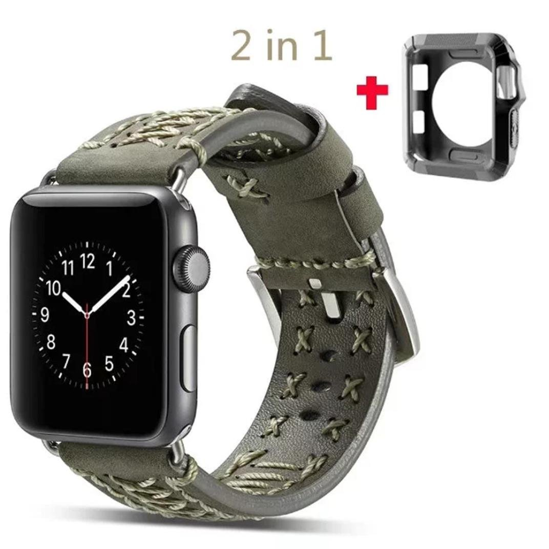 For Apple Watch Series 1/2/3, Sunfei Luxury Leather Watch Bracelet Strap Band With Frame (Army Green, 38MM)