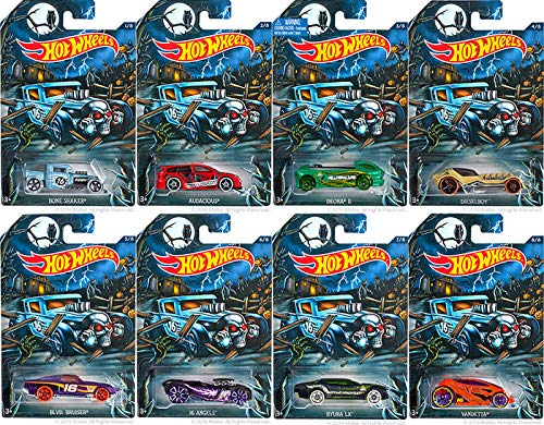 Happy Halloween 2016 (Complete Set of 8) Hot Wheels Tricked-Out Vehicles (Includes: Bone Shaker, Audacious, Deora II, Diesel Boy, BLVD. Bruiser, 16 Angels, Ryura LX & -