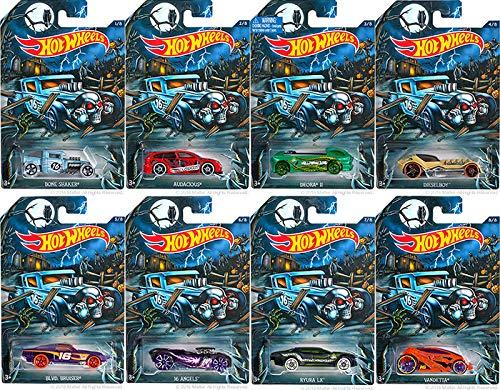 Happy Halloween 2016 (Complete Set of 8) Hot Wheels Tricked-Out Vehicles (Includes: Bone Shaker, Audacious, Deora II, Diesel Boy, BLVD. Bruiser, 16 Angels, Ryura LX & Vandetta)]()