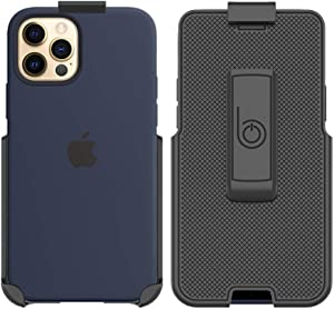 BELTRON Belt Clip Holster Compatible with Apple Silicone Case for iPhone 12, iPhone 12 Pro with MagSafe - Features: Built in Kickstand (Holster Only, Case is NOT Included)