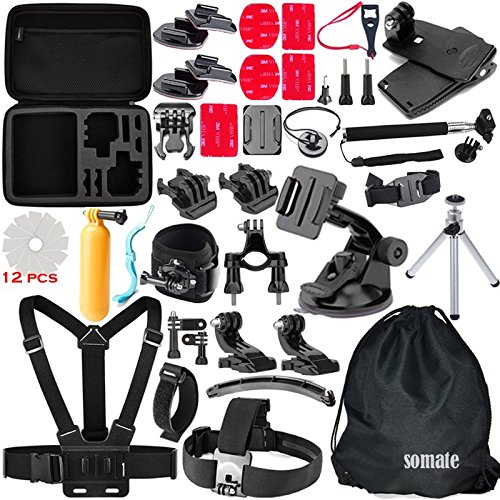 4K Action Camera Accessories Kit for Gopro Hero 5/4 Session Hero 3/2/1 Silver Black;Bundles for AKaso Ek7000; EKEN...