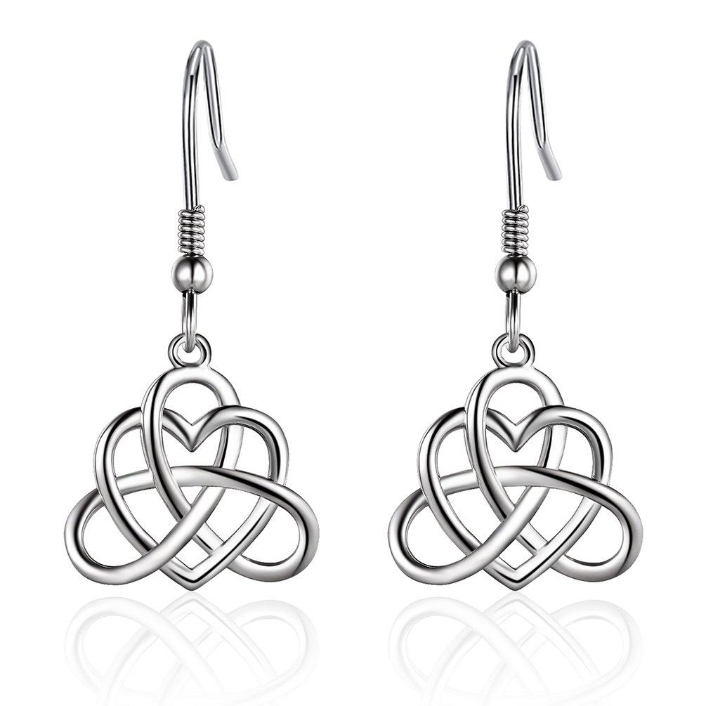 925 Sterling Silver Vintage Irish Celtic Knot Triangle Love Heart Dangle Earring