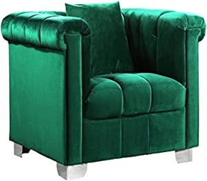 """Meridian Furniture Kayla Collection Modern   Contemporary Deep Channel Tufted Velvet Upholstered Chair with Custom Chrome Legs, 45.5"""" W x 37"""" D x 31"""" H, Green"""