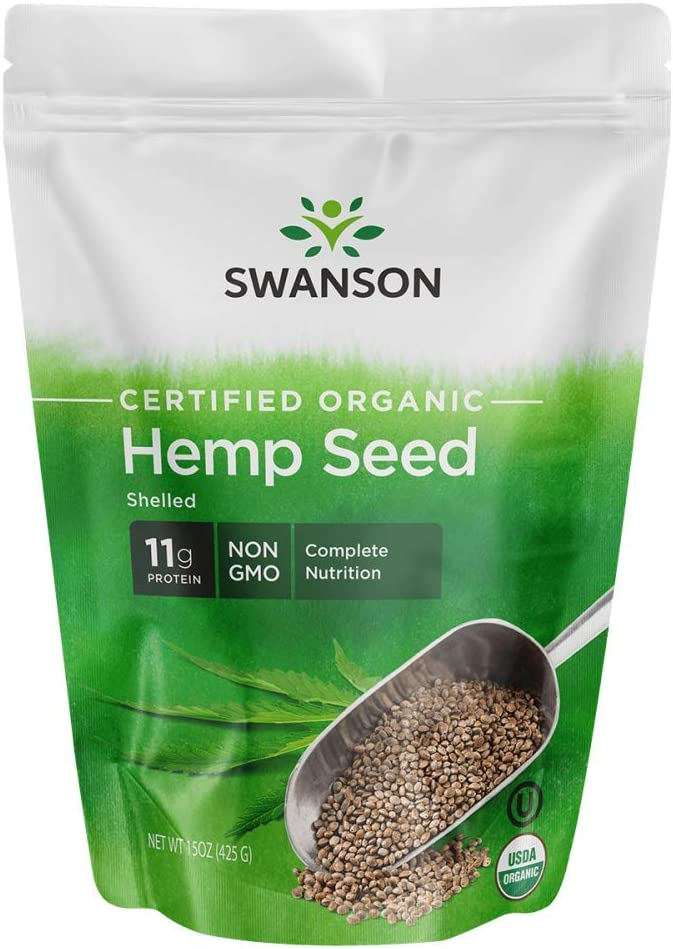 Swanson Certified Organic Hemp Seed Shelled 15 Ounce (425 g) Pkg