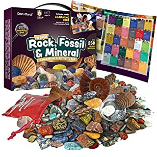 Mega Rock, Fossil & Mineral Collection & Activity Kit. Includes 250+ Real Specimens & Jumbo Learning Mat - Rough Rocks, Polished Gems, Genuine Fossils & Real Minerals - Great Science Gift for Kids