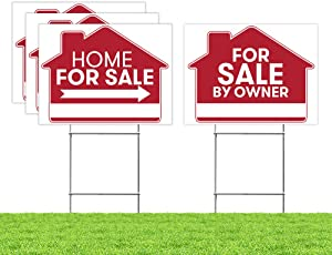 "For Sale By Owner Sign - 4 Premium Yard Signs Bulk Pack - 18"" x 24"" Inches - Large Directional Arrows - Double Sided Real Estate Sale Stand Post with H Wire Stakes - Realtor Agents Supplies (Red)"