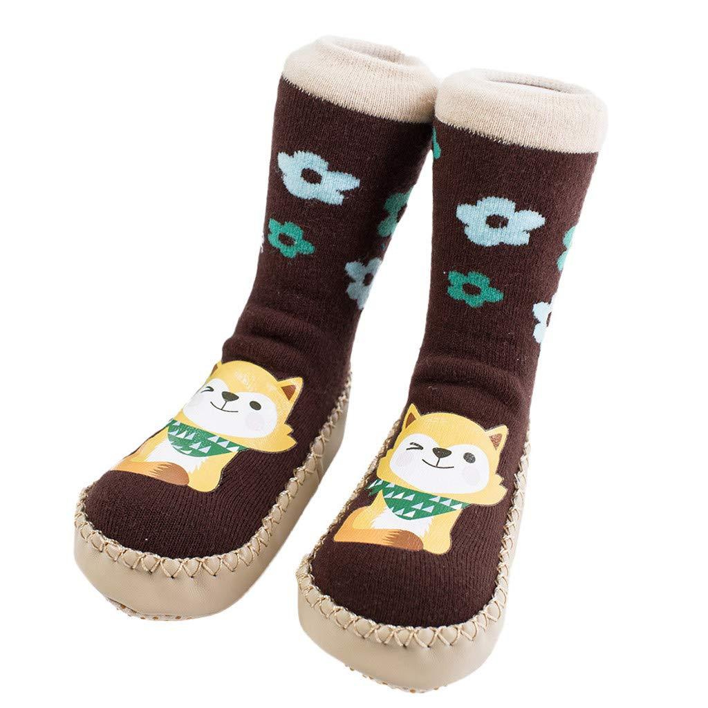 NUWFOR Newborn Baby Boy Girl Cartoon Xmas Floor Socks Anti-Slip Warm Baby Step Socks(Coffee,6-9Months)