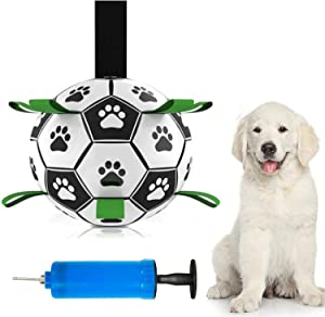 Dog Soccer Ball with Grab Tabs, Tug of War Dog Interactive Soccer Ball Toy for Indoor & Outdoor Rope&Tug Dog Toy with Free Pump (5.9