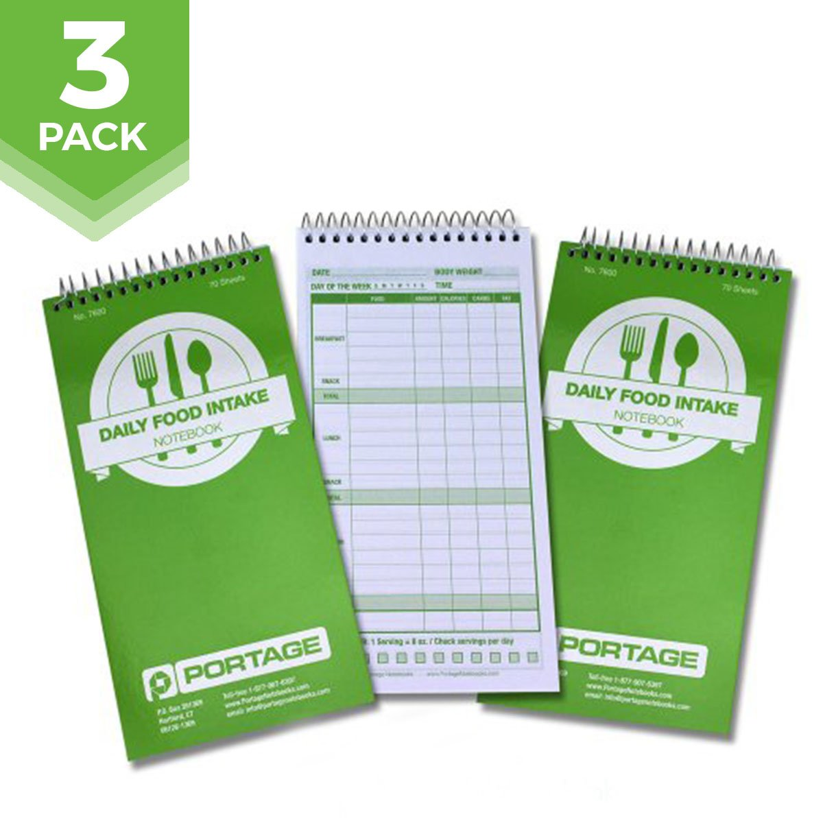 Daily Food Intake Journal Notebook - 4'' x 8'' Meal Tracker/Food Diary to Log Calories, Carbs, Fat Perfect for KETO - 140 Pages (3 Pack) by Portage