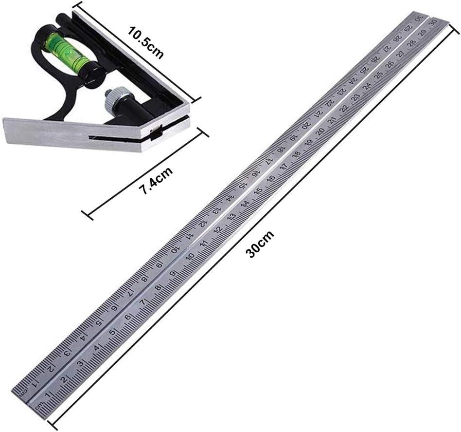SNAGAROG 12-Pouces R/ègle /à Angle Droit Combinaison Carr/ée Combinaison Multifonctionnelle Universelle en Acier Inoxydable R/églable Outils de Mesure de R/ègle /à Angle Droit