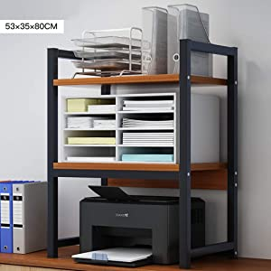 ALUS- Office Desktop Multifunction Printer Copier Scanner Shelf Stand Rack with Anti - Skid Pads for Desktop Organizer Storage Shelf Double Tier Tray for Microwave Oven Potted Plants