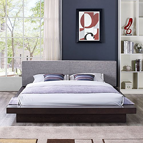 - Modway Freja Upholstered Cappuccino Gray Modern Platform Bed with Wood Slat Support in Queen