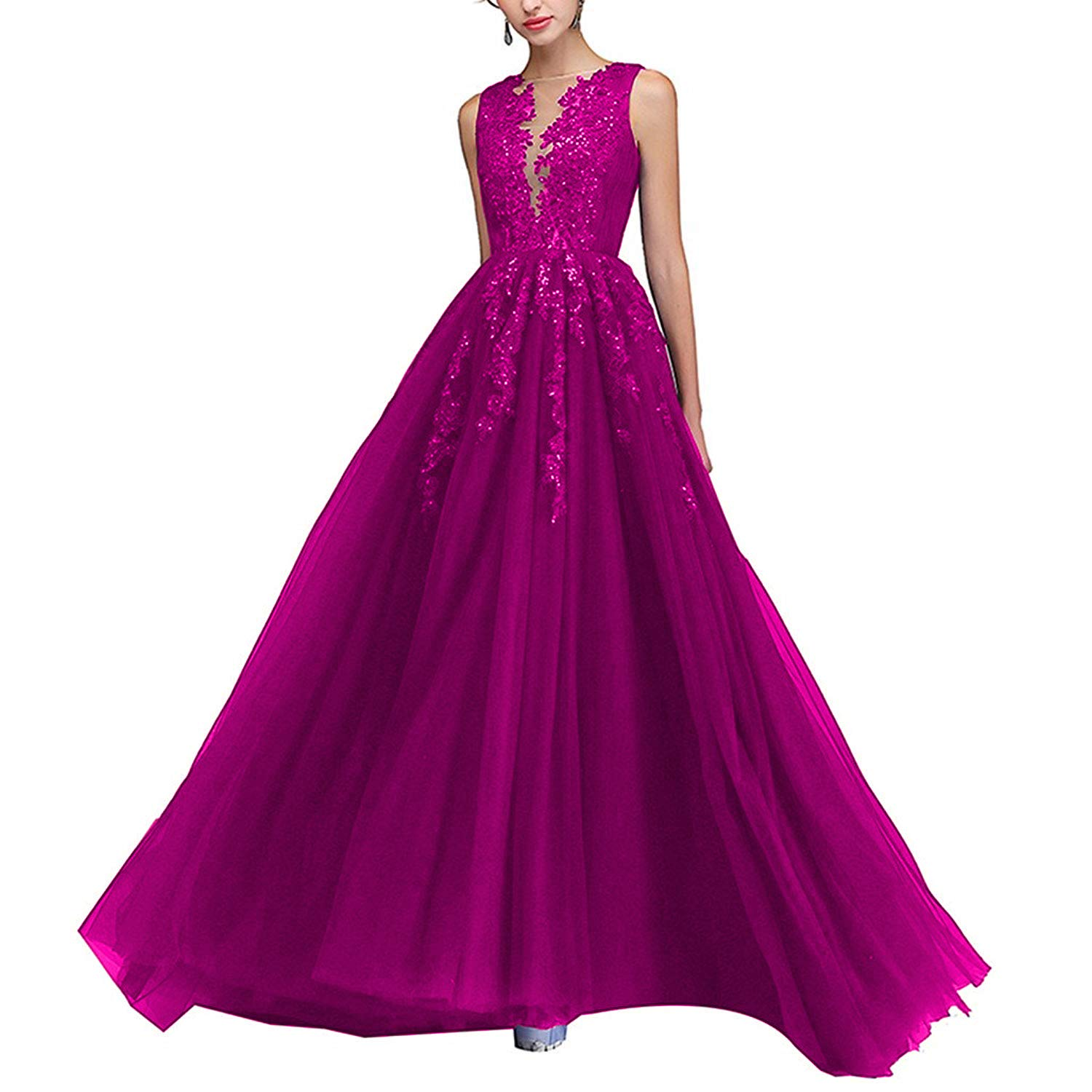 Fuchsia PearlBridal Illusion Neck Lace Appliques Long Prom Dresses Beaded Tulle Evening Dress for Women Side Slit