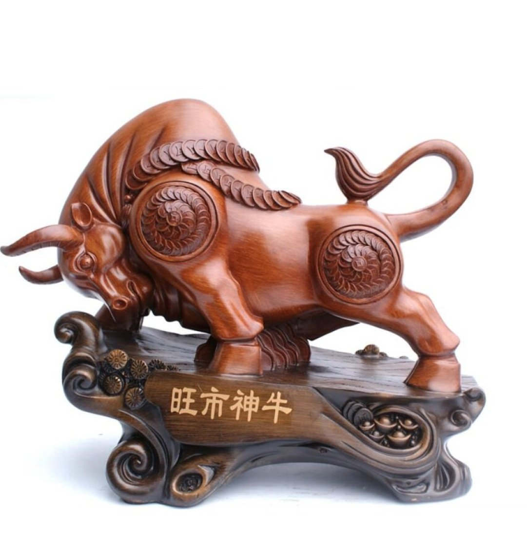 GL&G Lucky Cattle Resin Crafts modern Chinese living room office Tabletop Scenes Decorations High-end Business gift Ornaments Keepsakes,B,472240cm by GAOLIGUO