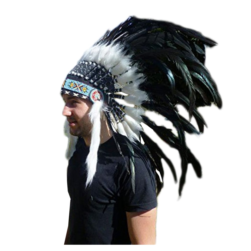 X24 Stunning Indian Feather Headdress Natural color THEWORLDOFFEATHERS