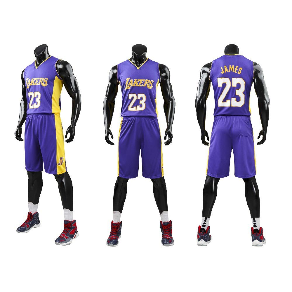 the latest a75c4 fc4e9 XCR Kids Boys Girls Men Adults NBA Lebron James #23 LBJ LA Lakers RETRO  Basketball Jerseys Summer Suits Kits Top+Shorts 1 Set