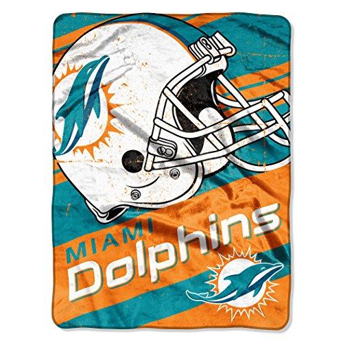 The Northwest Company NFL Miami Dolphins Deep Slant Micro-Raschel Throw, Blue, 46 x 60-Inch