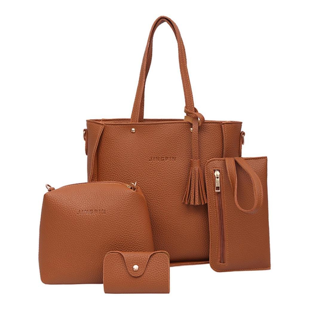 Todaies Hot Sale!Women Four Set Handbag Shoulder Bags 4 Pcs Tote Bag Crossbody Wallet (4Pcs, Brown)