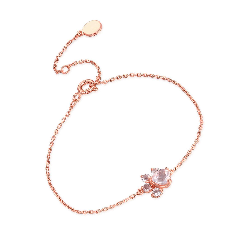 61a369b54 Amazon.com: Paws Print Bracelet Adjustable Girls Bracelet Rose Gold Chain  Bracelet Women: Jewelry
