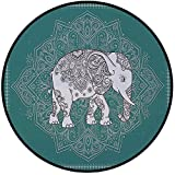 Printing Round Rug,Elephant Mandala,Symbol of Mental and Physical Fortitude on Floral Frame Mat Non-Slip Soft Entrance Mat Door Floor Rug Area Rug For Chair Living Room,Light Blue and Petrol Blue