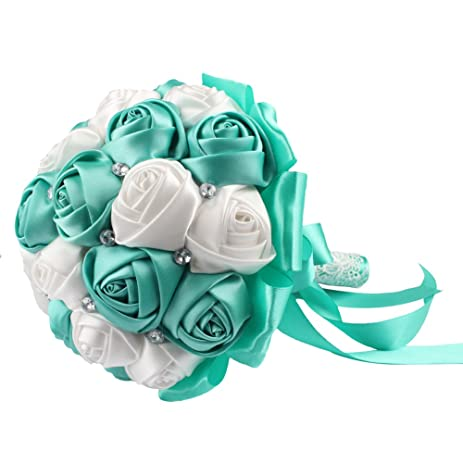 Amazon aerwo aqua blue silk rose wedding flowers bouquet aerwo aqua blue silk rose wedding flowers bouquet flowers bridal bouquets crystal rhinestone wedding bouquet supplies mightylinksfo