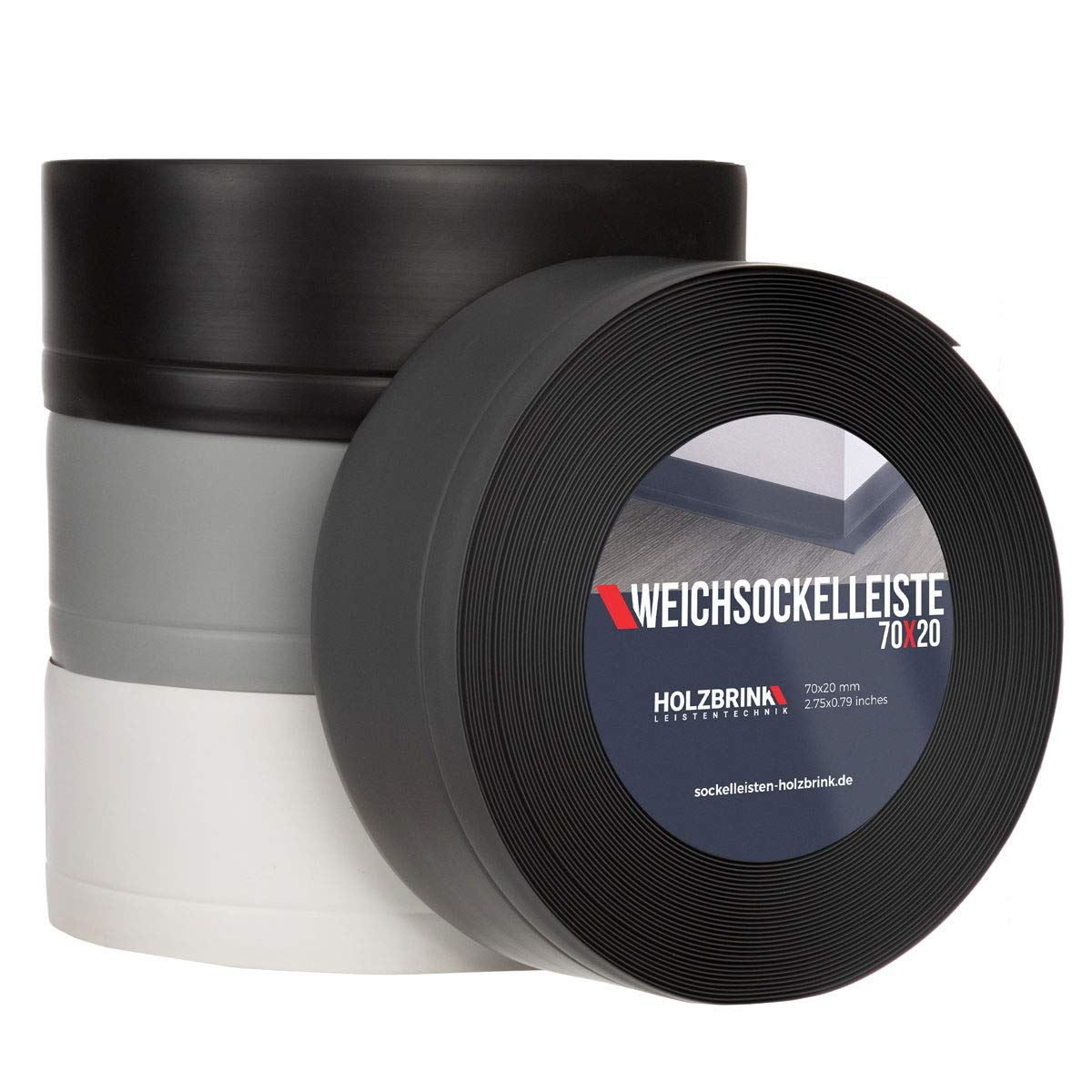 70x20mm HOLZBRINK Weichsockelleiste selbstklebend Graphitgrau Knickleiste Material: PVC 5 Meter